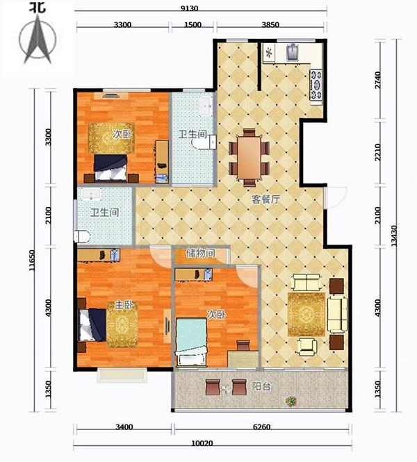 三个卧室朝南的房型图