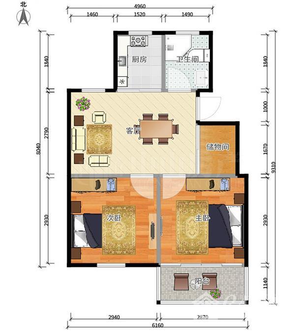 该房为电梯房一梯两户,两室两厅带储物间,两房朝南,主卧带阳台,客厅带