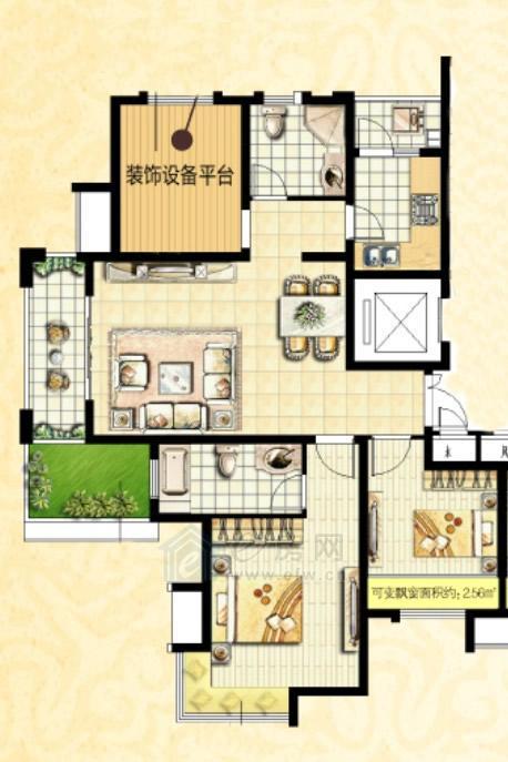 国基城邦户型图 3室1厅2卫 103平方,楼盘户型图,徐州房产网