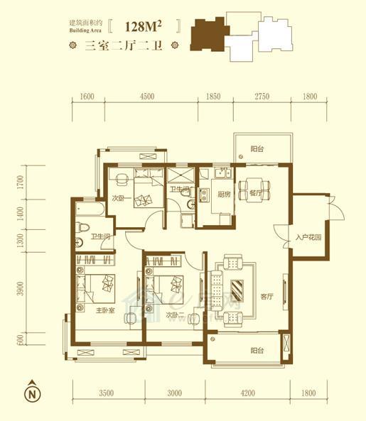 保利鑫城J户型3室2厅2卫约128�O
