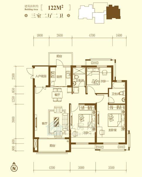保利鑫城K户型3室2厅2卫约122�O