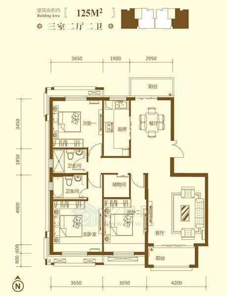 保利鑫城O户型3室2厅2卫约125�O
