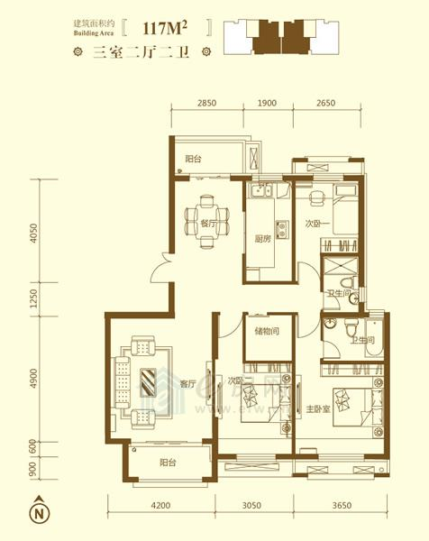 保利鑫城P户型3室2厅2卫约117�O