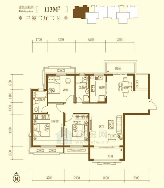 保利鑫城R户型3室2厅2卫约113�O