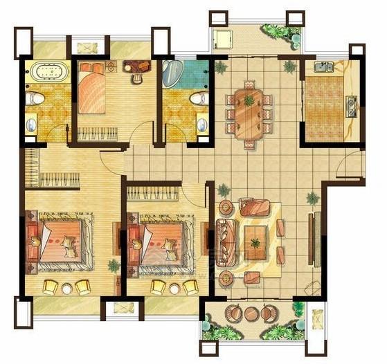 美的城高层F1户型3室2厅2卫140.5-142.3平米