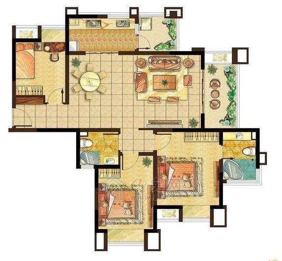 美的城高层G1户型3室2厅2卫125.1-126.7平米