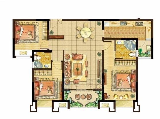 美的城高层H1户型3室2厅2卫126.4-127.9平米