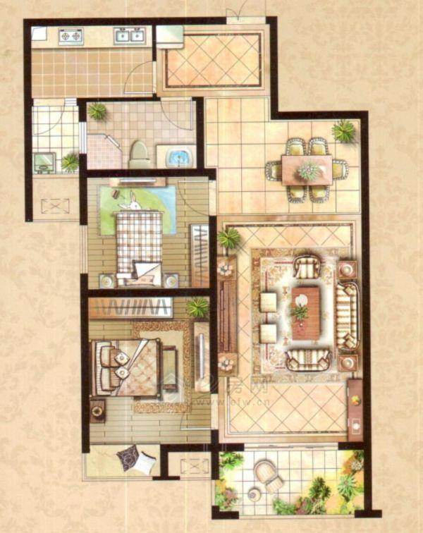 云龙万达广场B户型2室1厅1卫93平米