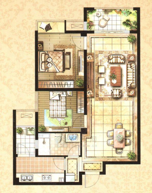 云龙万达广场J户型2室1厅1卫88-92平米