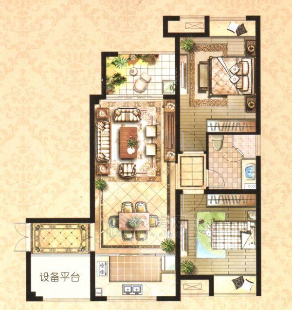 云龙万达广场K户型2室1厅1卫86平米