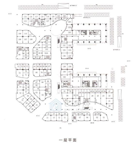 绿地之窗绿地缤纷城 商业1层平面图
