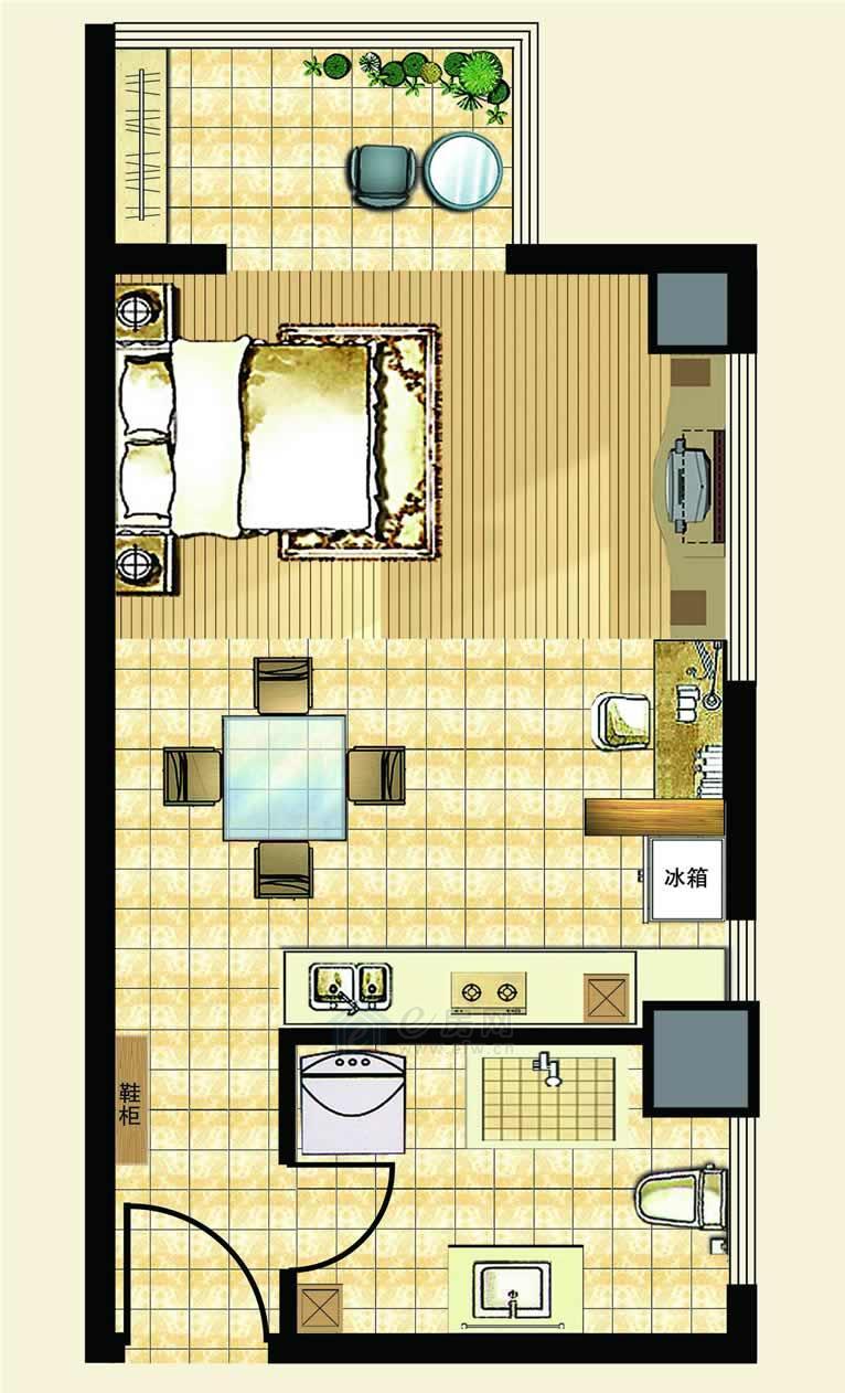 中汉财富湾公寓B户型