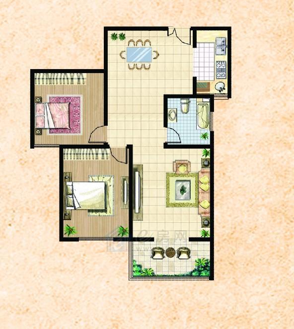 楚河花园约110平2室2厅1卫户型