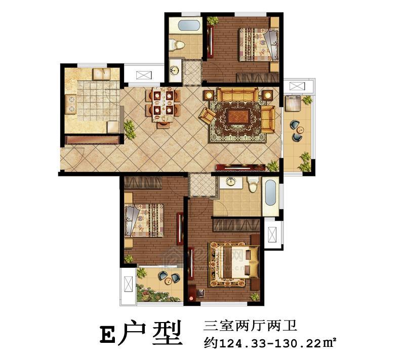 鑫苑景城E户型3室2厅2卫