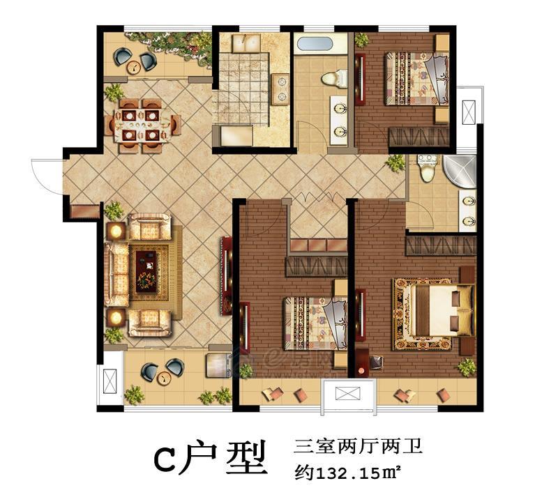 鑫苑景城C户型3室2厅2卫