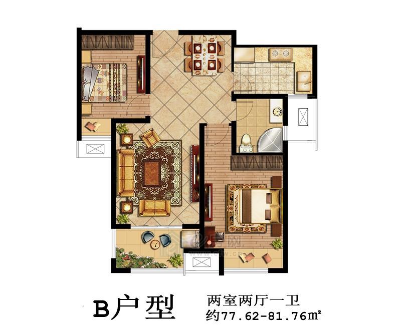 鑫苑景城B户型2室2厅1卫