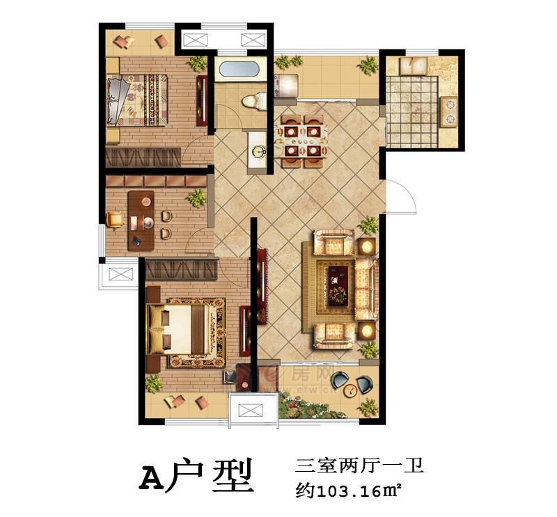 鑫苑景城A户型3室2厅1卫
