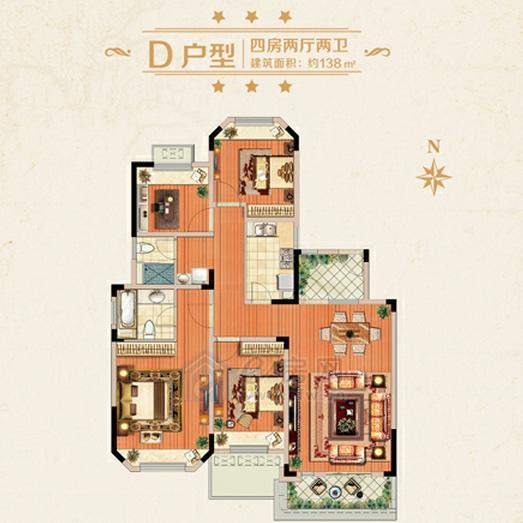 城置金色年华D户型四房两厅两卫