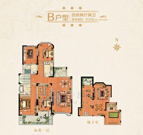 城置金色年华B户型四房两厅两卫