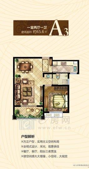 中国铁建•原香漫谷A3户型1室2厅1卫65.6平米
