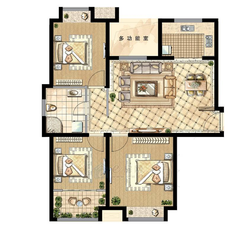 煌庭・棕榈湾B1户型3房2厅1卫