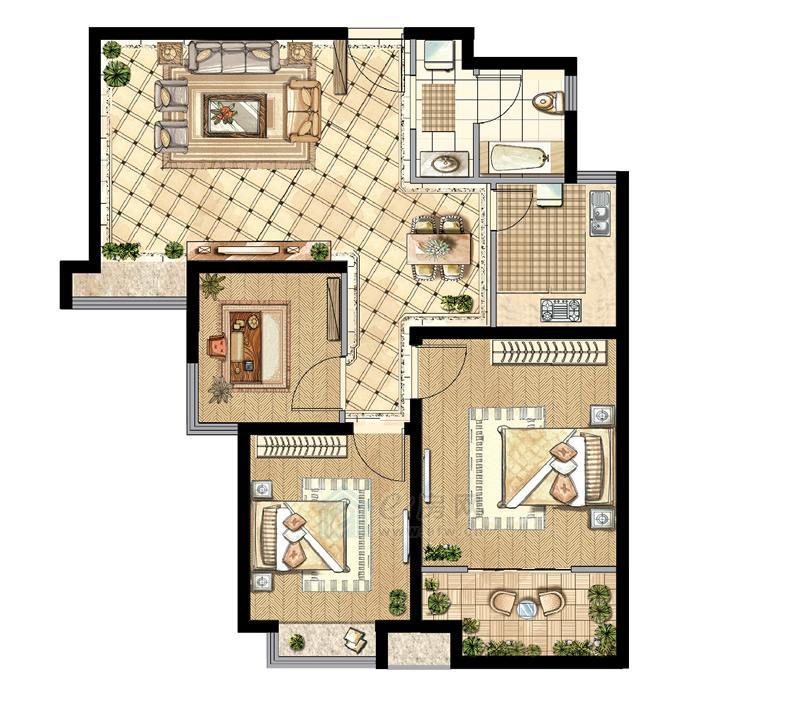 煌庭・棕榈湾B2户型3房2厅1卫