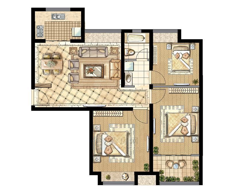 煌庭・棕榈湾B3户型3房2厅1卫