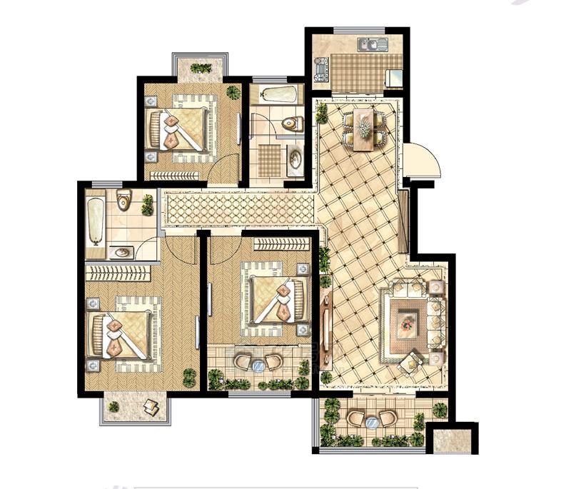 煌庭・棕榈湾C1户型3房2厅2卫