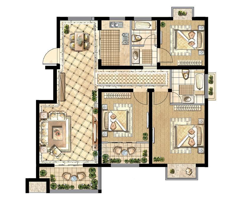 煌庭・棕榈湾C2户型3房2厅2卫