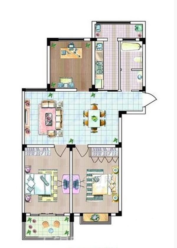 格林春天·野花园二期c户型3室2厅1卫