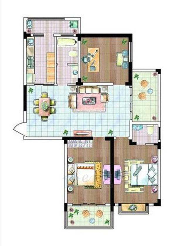 格林春天·野花园二期e户型3室2厅2卫