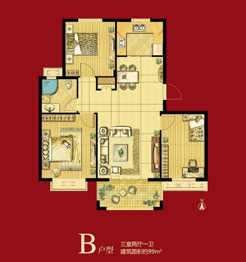 高盛汉郡B户型三室两厅一卫